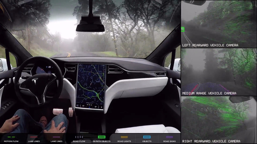 Check out a driverless Tesla's fascinating sensor feeds