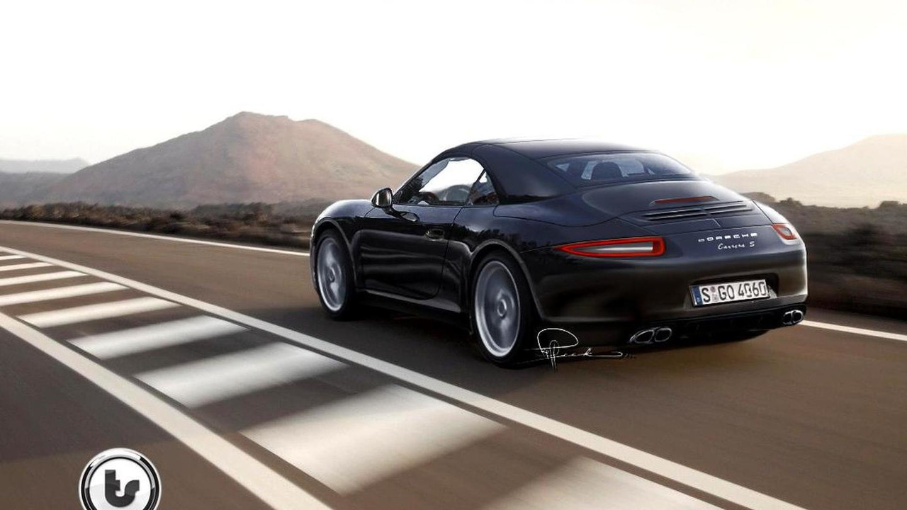 2012 Porsche 911 Cabriolet rendering with spoiler down