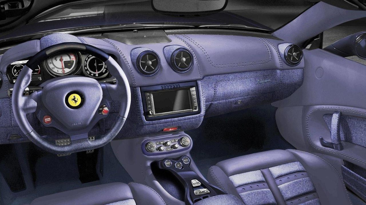 Denim- and blue carbon fiber-trimmed interior of Ferrari California ...