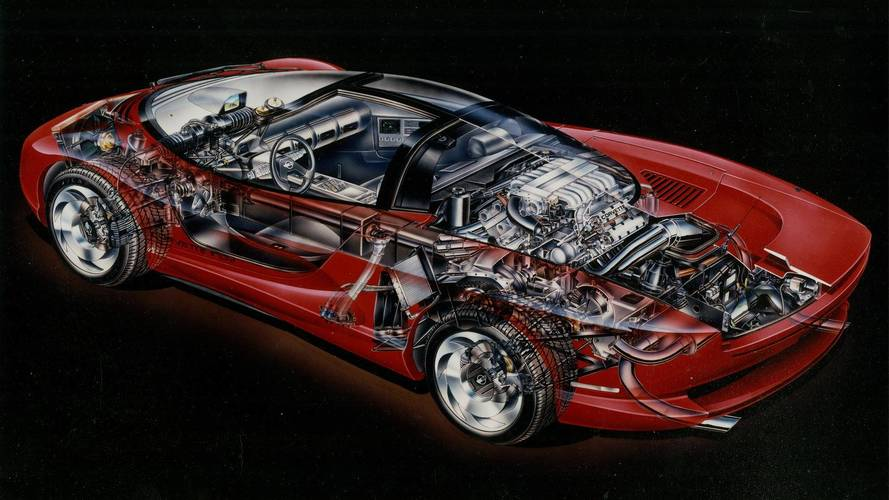 Chevrolet Corvette Indy Concept cutaway sketch by David Kimble