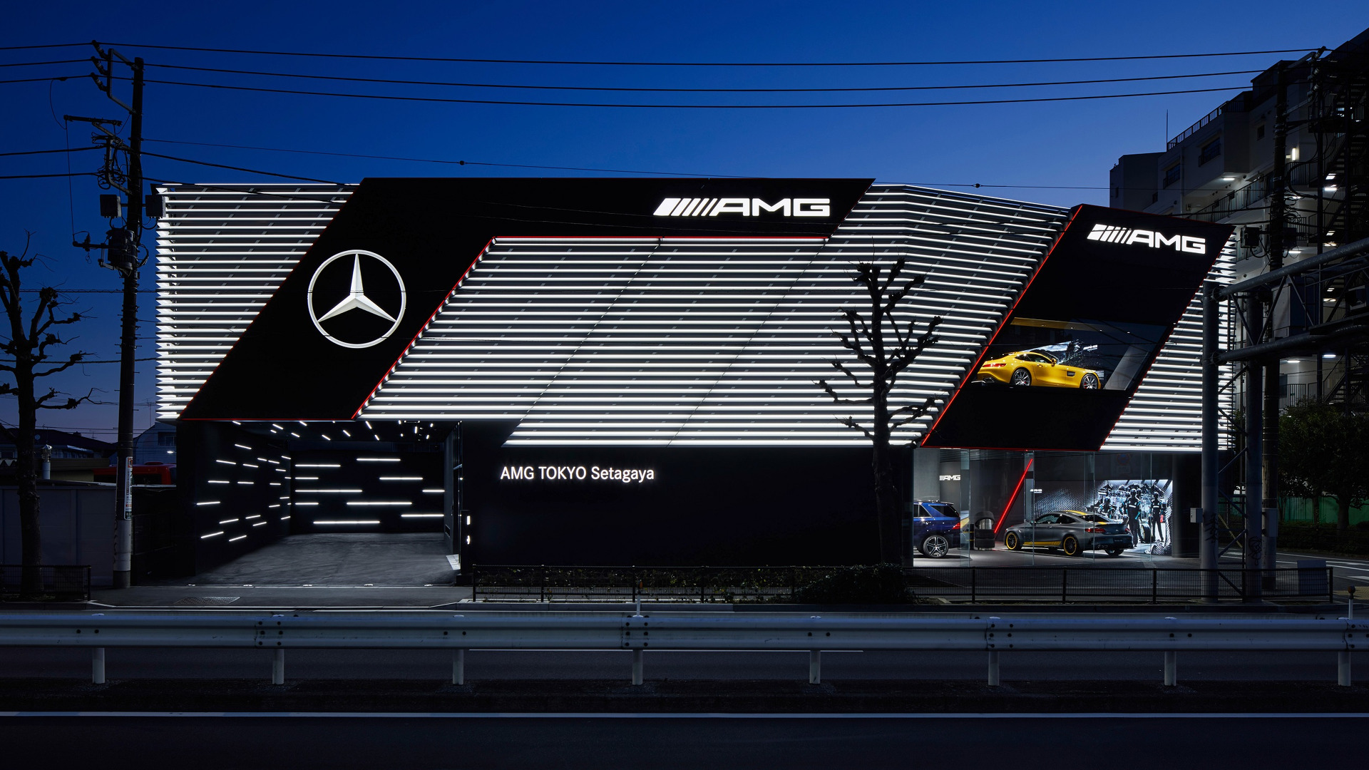first standalone mercedes amg showroom opens in tokyo. Black Bedroom Furniture Sets. Home Design Ideas