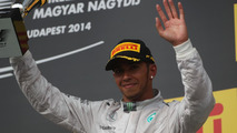 Lewis Hamilton (GBR) celebrates his third position on the podium, 27.07.2014, Hungarian Grand Prix, Budapest / XPB