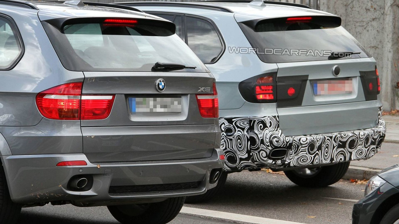 2011 BMW X5 Facelift Prototype next to current model