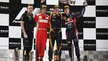 Abu Dhabi Grand Prix podium, Kimi Raikkonen; Fernando Alonso; Sebastian Vettel; Eric Boullier, 4.11.2012
