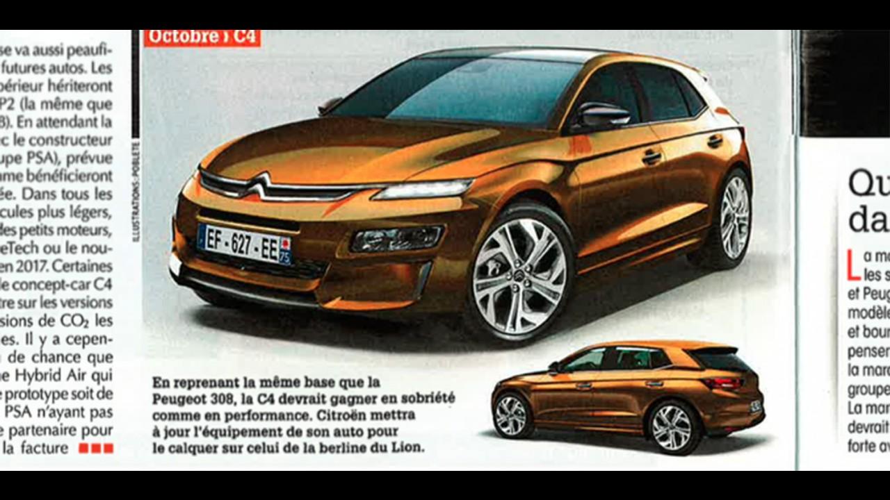 Próximos Citroën C3 e C4 têm visual antecipado por revista - projeção
