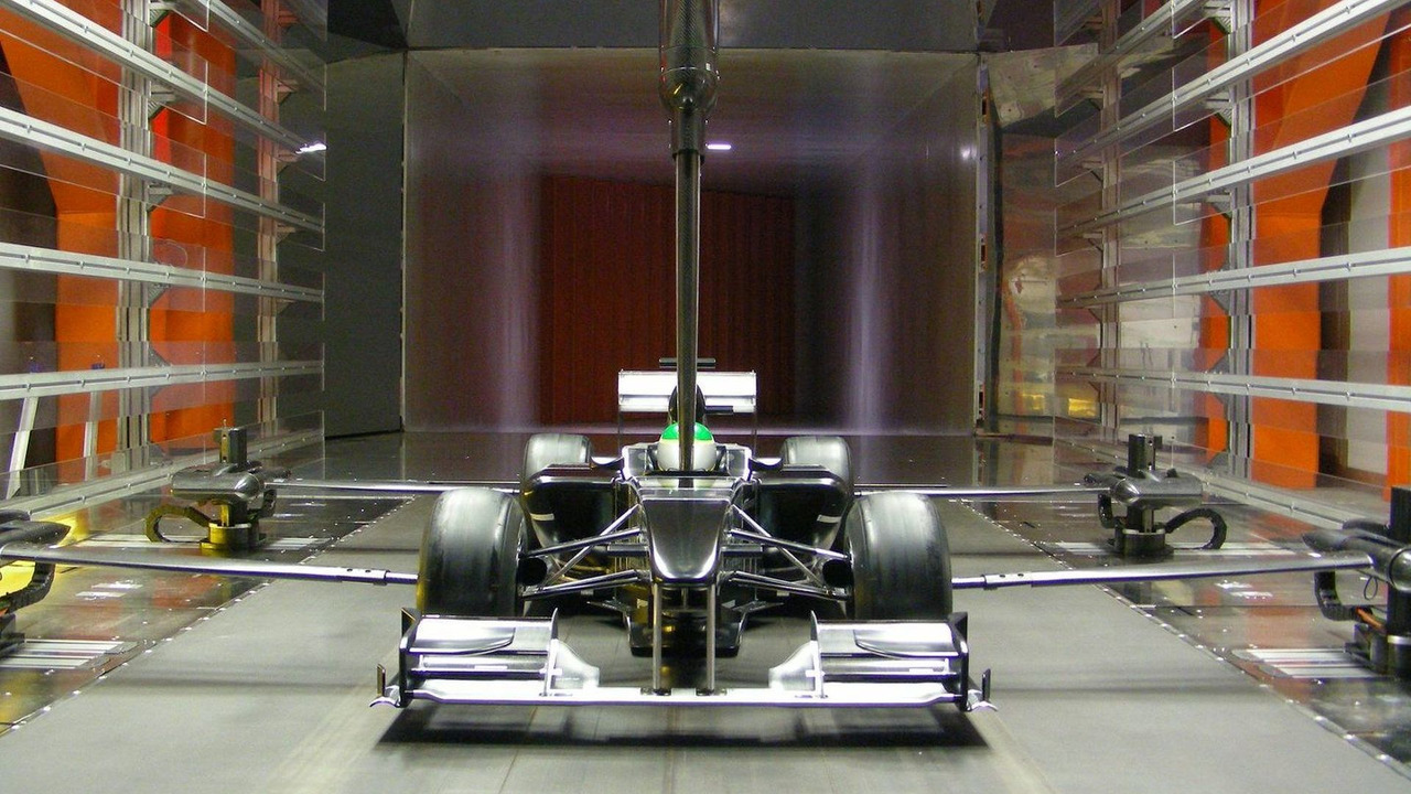 Lotus F1 Car full scale model in wind tunnel