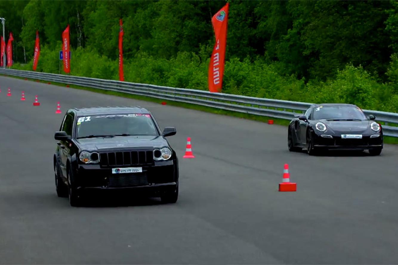 Watch a Jeep SRT8 Blast Past a Porsche Turbo in a Drag Race