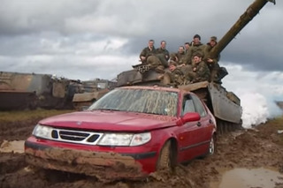 Watch a Tank Completely Destroy an Innocent Saab