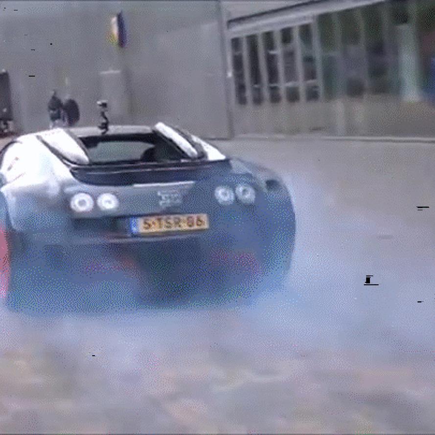 Watch a Bugatti Veyron Do a Smoky Four-Wheel Burnout