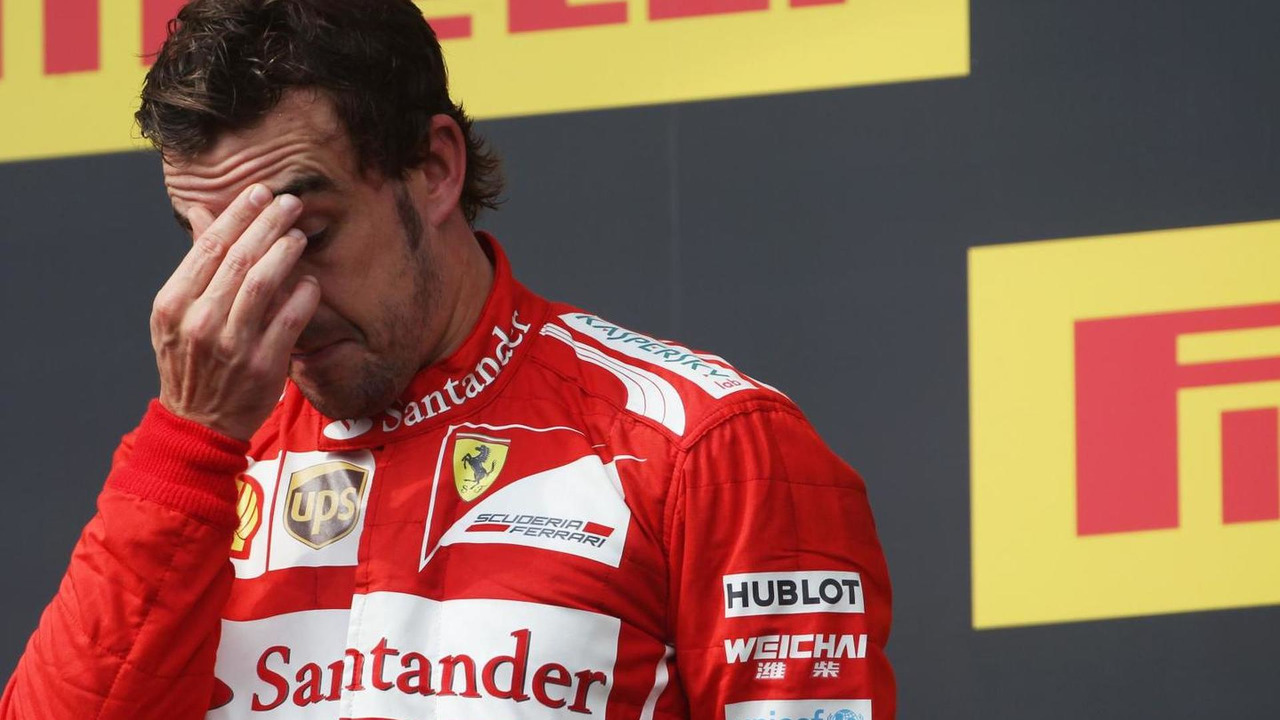 Second placed Fernando Alonso (ESP) on the podium, 27.07.2014, Hungarian Grand Prix, Budapest / XPB