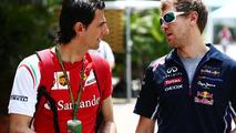 Pedro De La Rosa (ESP) with Sebastian Vettel (GER), 30.03.2014, Malaysian Grand Prix, Sepang / XPB