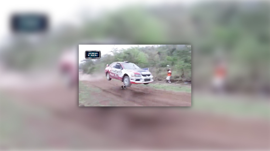 Full-speed rally car flies over dog in Bolivia