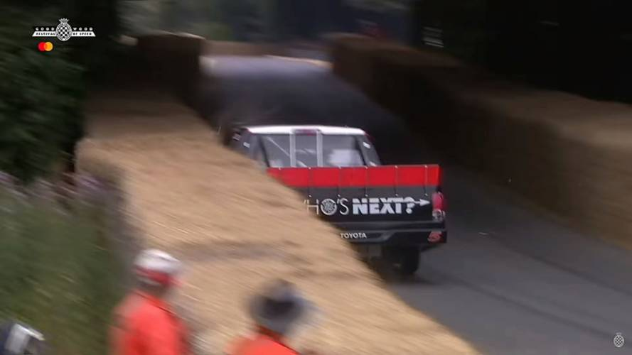 NASCAR truck and Lister-Jaguar crash at Goodwood