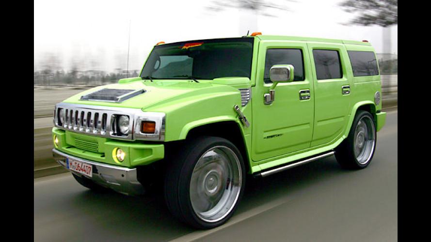 Grüner Hummer-Brummer H2 mit Geiger-Extrem-Tuning