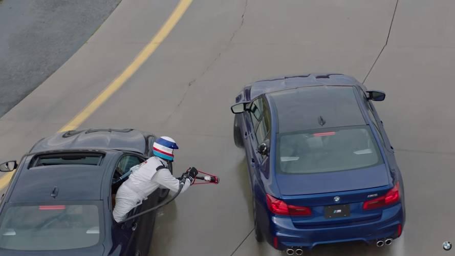 VIDÉO - La BMW M5 fait le plein d'essence lors d'une séance de drift