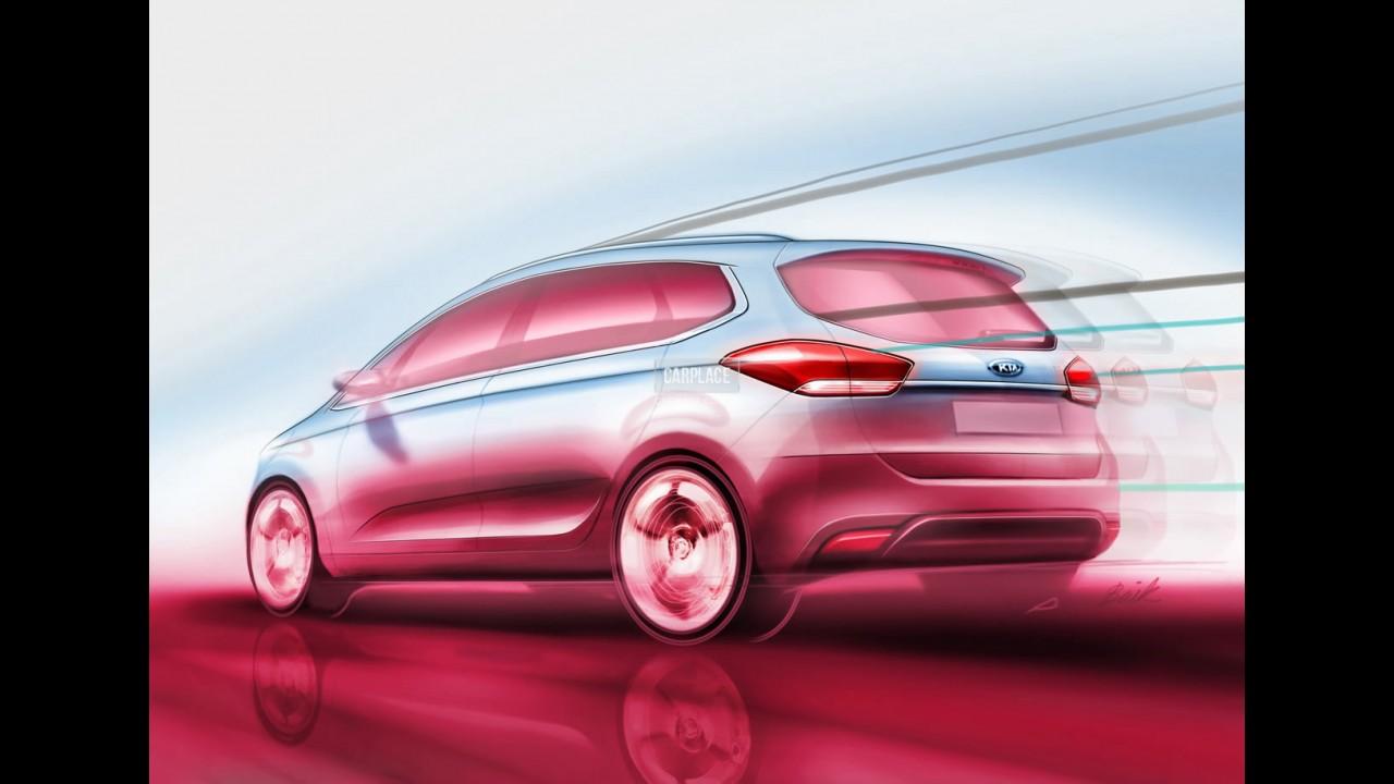 Mais esportivo: Novo Kia Carens 2013 tem visual revelado por desenhos