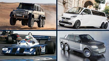 8 coches con seis ruedas... y 2 con orugas