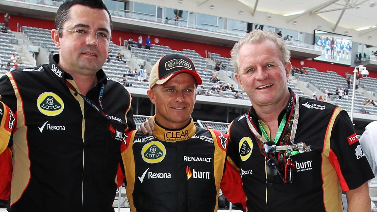 Eric Boullier with Heikki Kovalainen and Andrew Ruhan 17.11.2013 United States Grand Prix