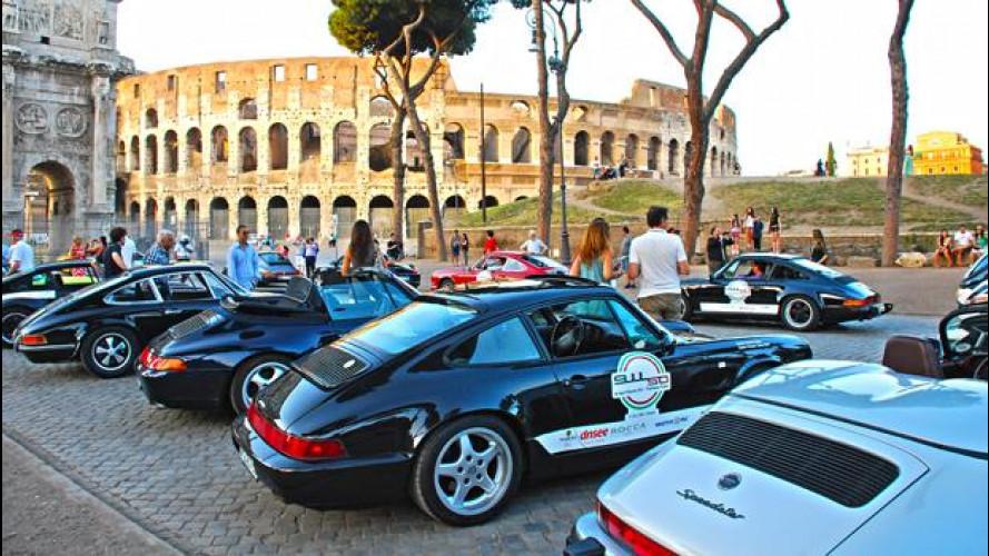 50 anni di Porsche 911 a Roma: festa all'ombra del Colosseo