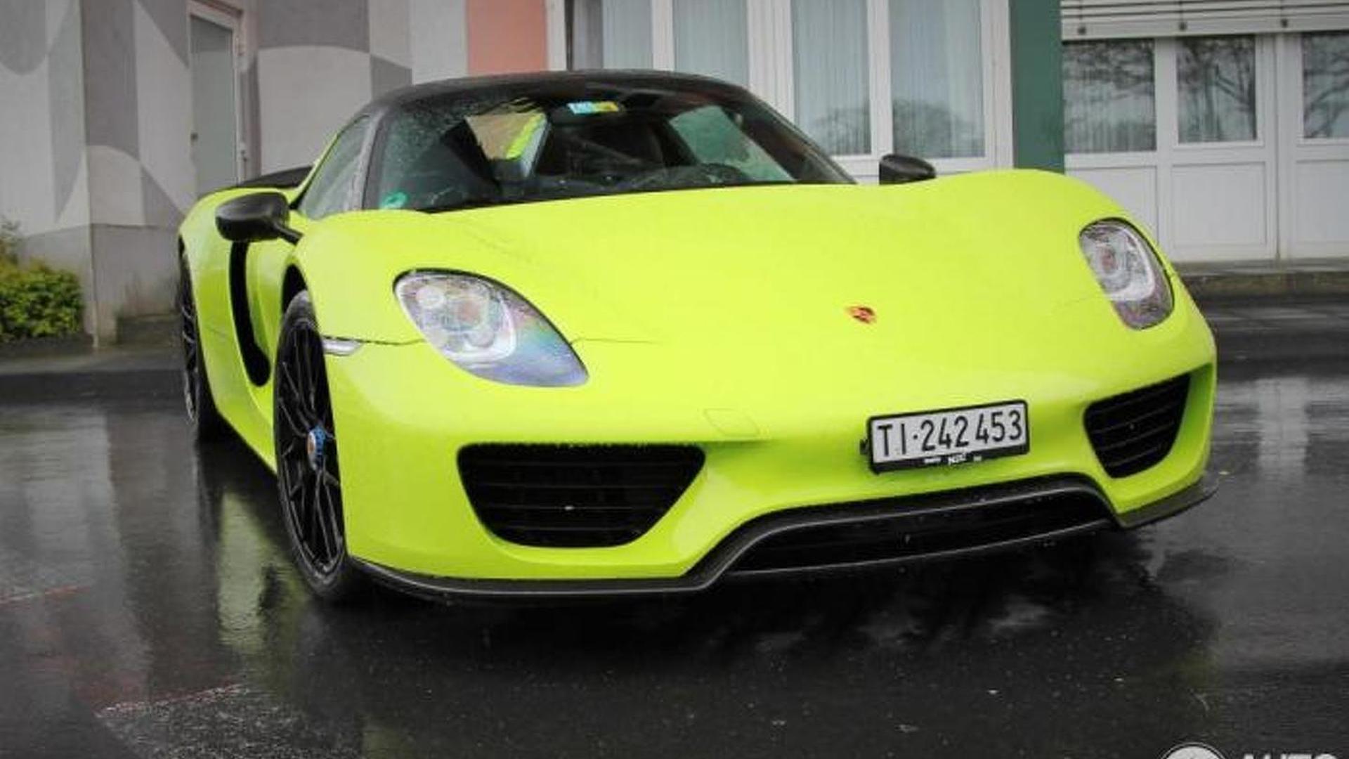 2015-566132-lime-green-porsche-918-spyder-weissach1 Gorgeous Porsche 918 Spyder Acid Green Cars Trend