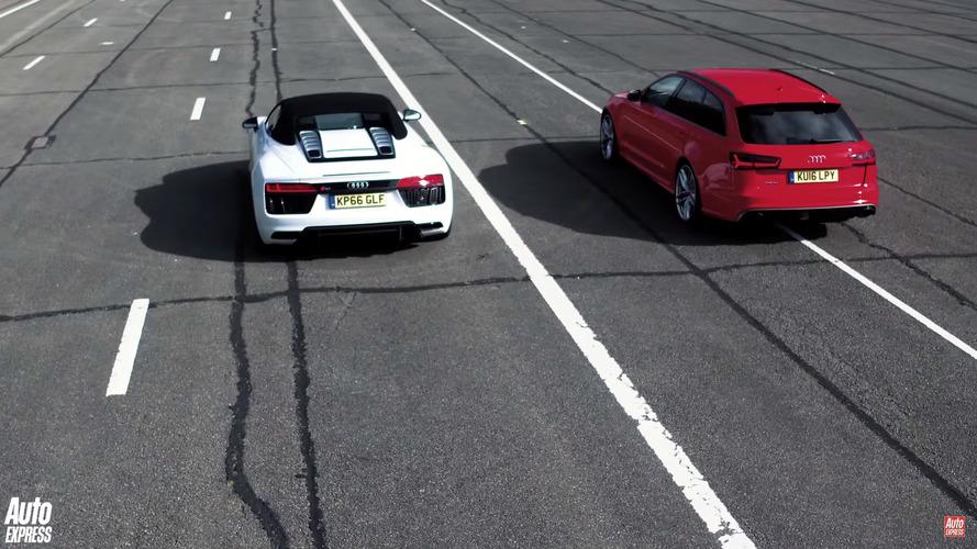 Audi RS6 drag races R8 Spyder
