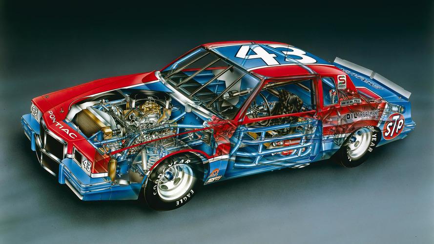 1982 Richard Petty No. 43 Pontiac Grand Prix cutaway by David Kimble