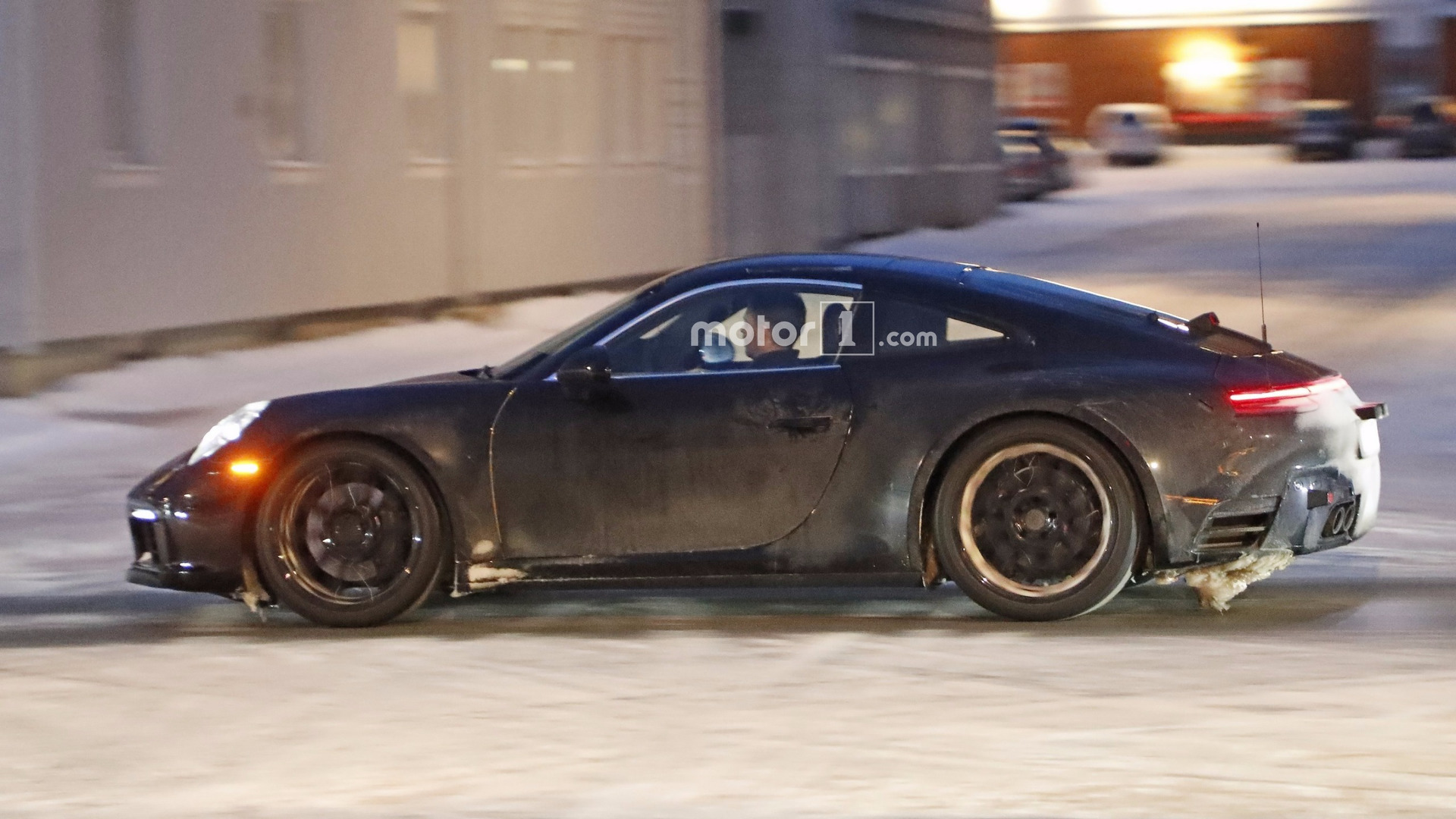 2019 porsche 911 caught with the rear spoiler down. Black Bedroom Furniture Sets. Home Design Ideas