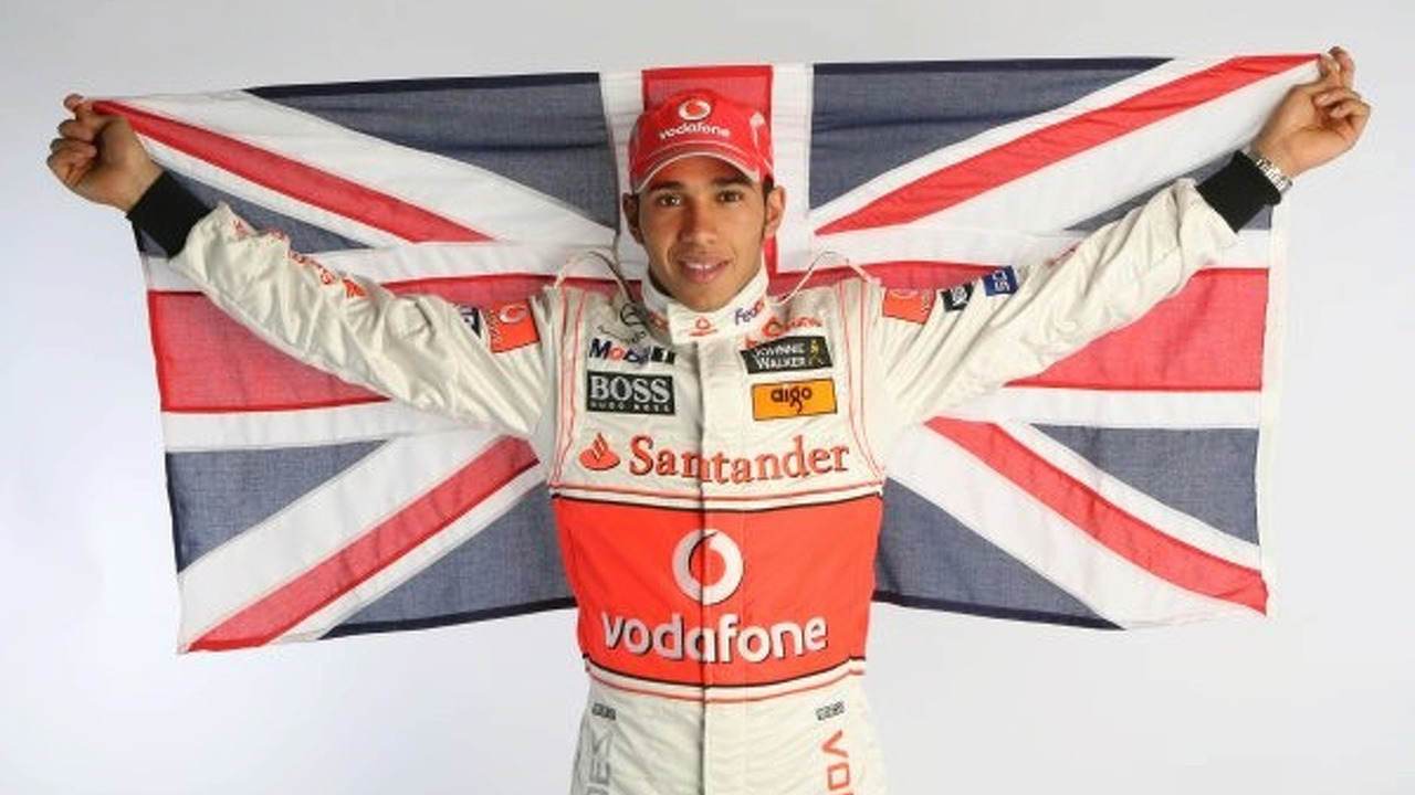 Lewis Hamilton with Union Jack