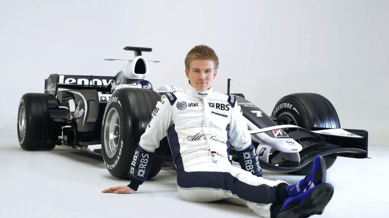 Nico Hulkenberg alongside the FW30, 2008 Williams FW30 Launch Studio Images