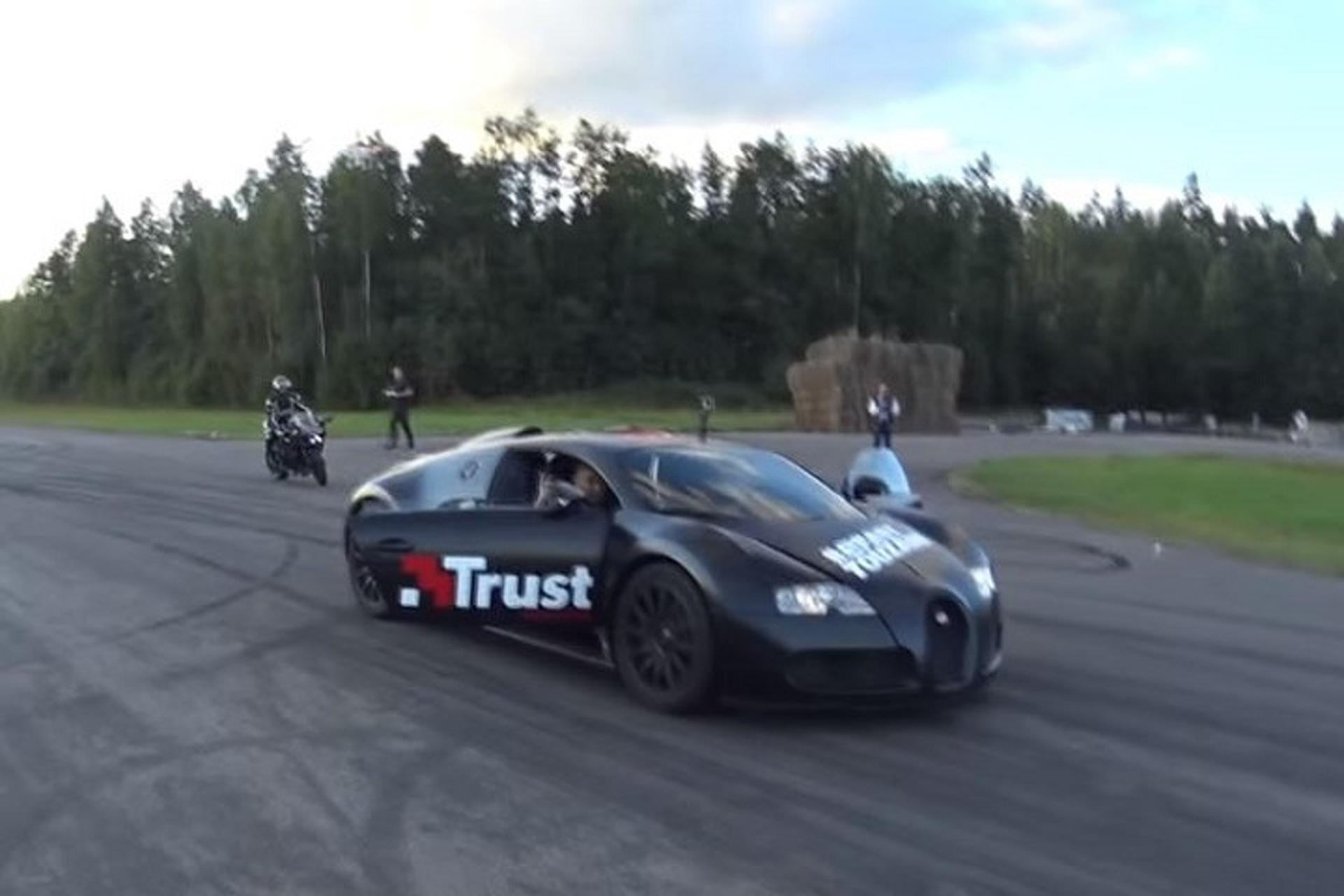 Watch Kawasaki's Evil Ninja H2 Race a Bugatti Veyron Grand Sport Vitesse