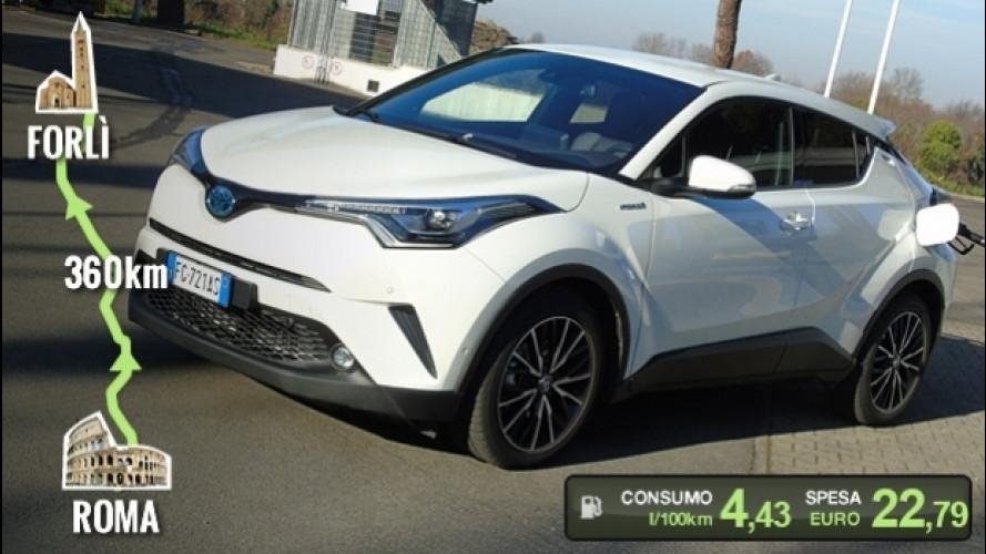 Toyota C-HR Hybrid, la prova dei consumi reali