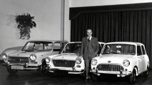 Sir Issigonis with Morris Minor and Mini