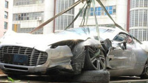 First Aston Martin one-77 crash