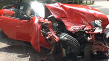 Ferrari 599 GTB totaled after driver tries to avoid an animal