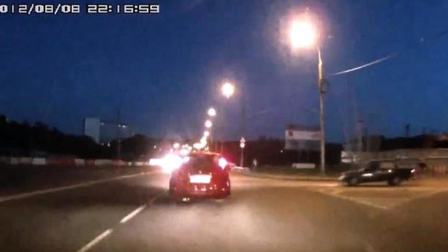 Lada causes a hit & run, ends up on the side of the road [video]
