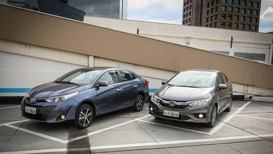 Comparativo Toyota Yaris Sedan x Honda City