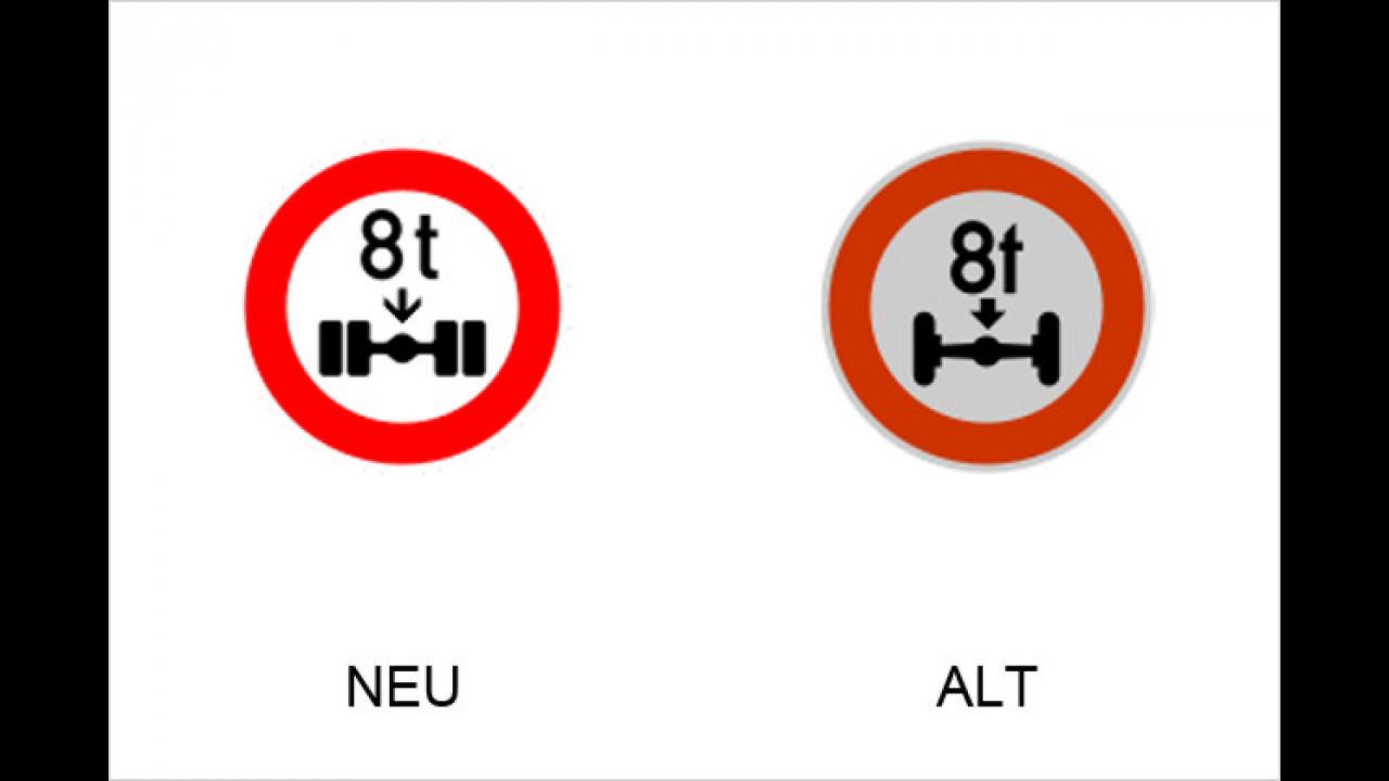 Verbot für Fahrzeuge über angegebene tatsächliche Achslast