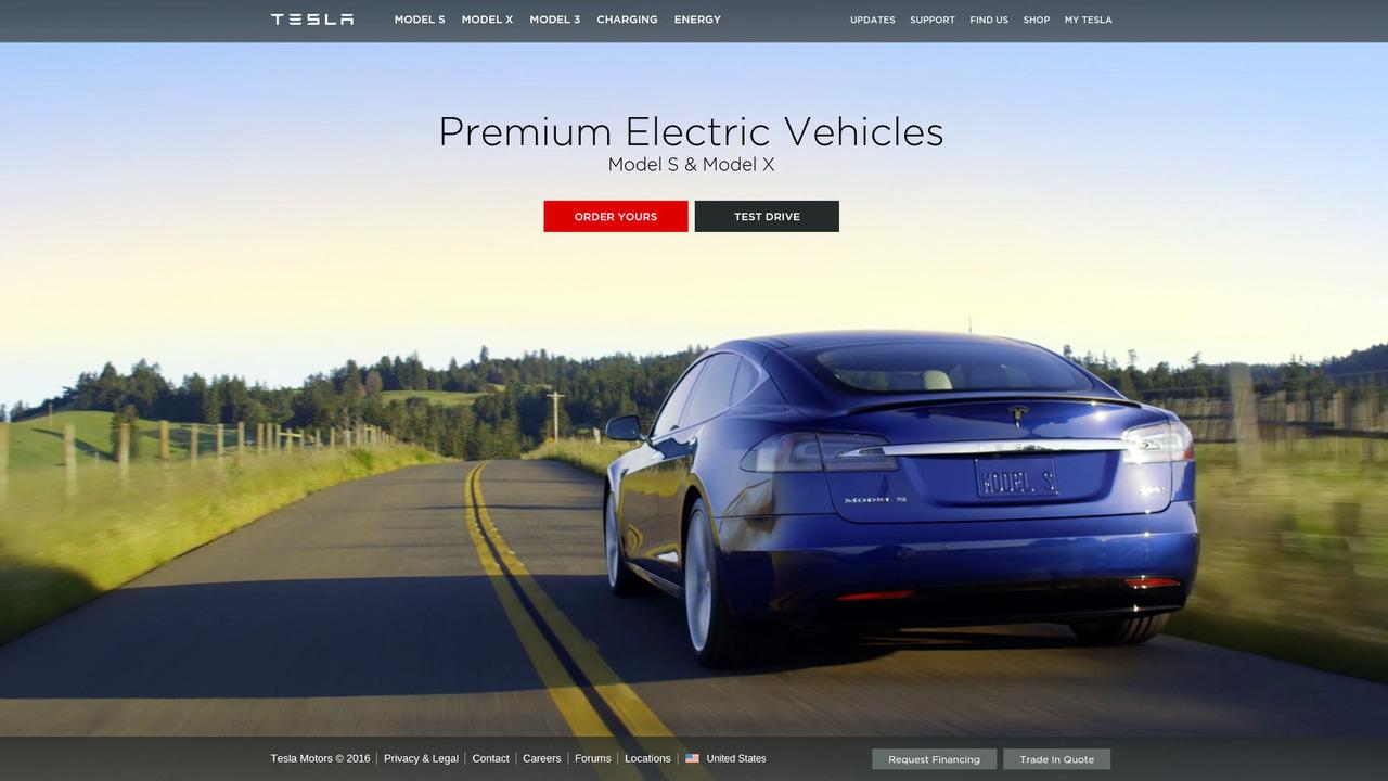 Tesla.com homepage