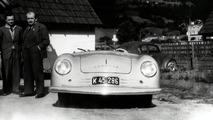 Ferry Porsche (centre), his father Ferdinand Porsche (right) and Erwin Komenda (left), 1948, in front of the 356 No. 1 in Gmünd
