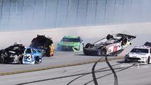 A.J. Allmendinger, JTG Daugherty Racing Chevrolet, Joey Logano, Team Penske Ford, Austin Dillon, Richard Childress Racing Chevrolet crash