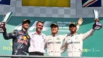 The podium (L to R): second place Daniel Ricciardo, Red Bull Racing; Race winner Nico Rosberg, Mercedes AMG F1; third place Lewis Hamilton, Mercedes AMG F1