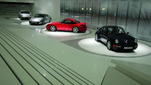 "The exhibition: The ""evolution of the Porsche 911"" theme presents on rotating pedestals the Porsche 911"