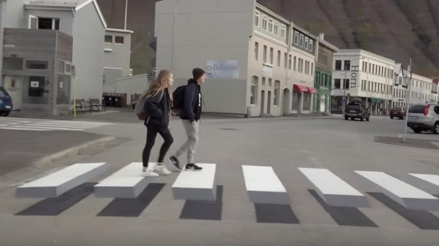 Faixa de pedestre em 3D faz