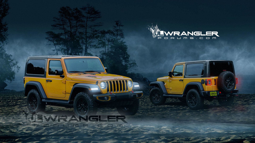 2018 jeep wrangler two door rendered with new cues. Black Bedroom Furniture Sets. Home Design Ideas