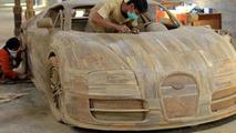 Full-size wood Bugatti Veyron replica