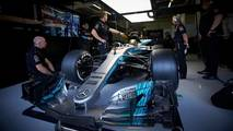 Lewis Hamilton, Mercedes AMG F1 W08, in the Mercedes garage