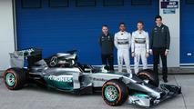 Paddy Lowe, Lewis Hamilton, Nico Rosberg and Toto Wolff unveil Mercedes AMG F1 W05  Formula One Testing Jerez Spain