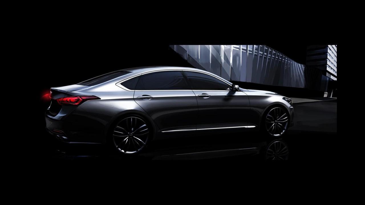 Hyundai divulga primeiras imagens e detalhes do novo Genesis 2014
