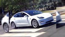 White Tesla Model 3 spy phot