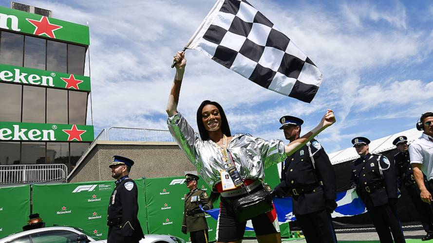 Winnie Harlow mistakenly waves chequered flag early at Canadian GP